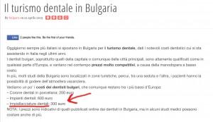 Turismo dentale - Pagina Bulgaria